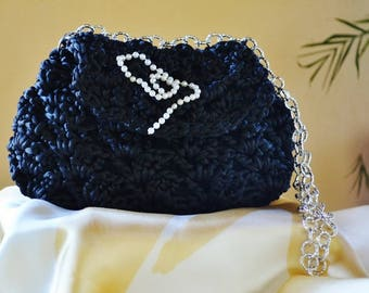 Crochet black clutch bag with single chain