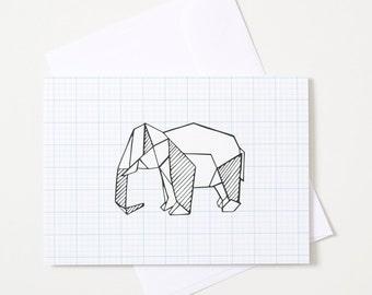Greeting Card - Origami Animal / Elephant