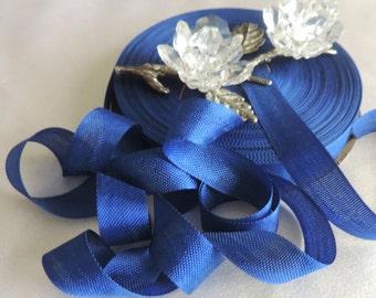 2 Yds.Vintage Hem-Line Woven Edge Rayon Ribbon/Seam Binding/Supplies/Crafts/ Scrap booking/ Royal Blue