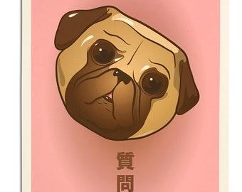 "Wonder Pug 11""x17"" art print"