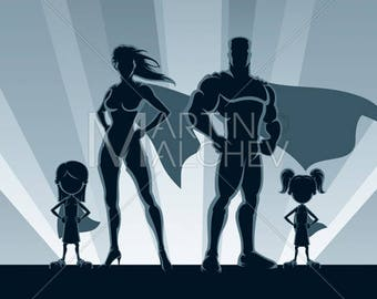 Superhero Family 2 Girls - Illustration. superheroine, man, heroine, woman, girl, daughter, superwoman, couple, mother, father, silhouette,