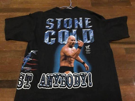 Vintage 90s Stone Cold Shirt Size XL Free Shipping Stone Cold Steve Austin Shirt WWF 3:16 Wrestling Rap Tees Bootleg rd8SiX