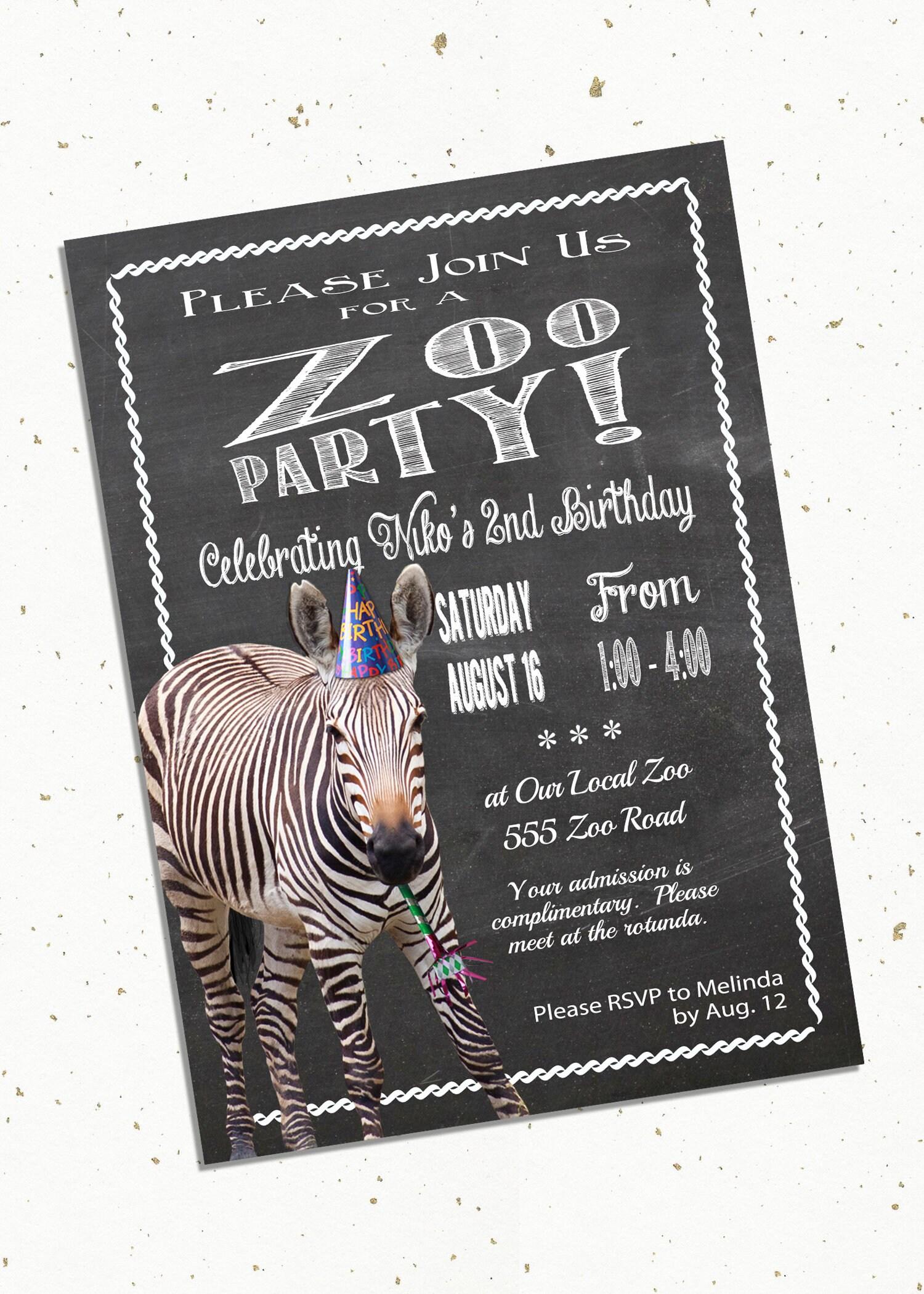 Zoo-Geburtstags-Party-Einladung mit Zebra Druck zu Hause5