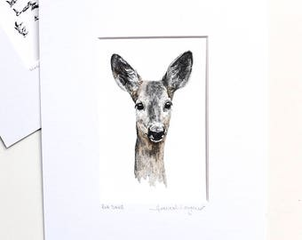 Print - Roe Deer - Pencil and Watercolour
