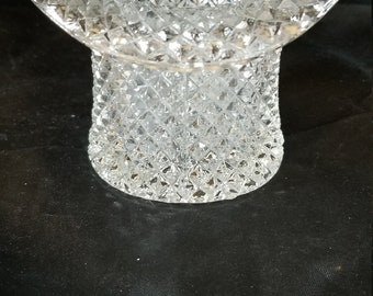 """Vintage Clear Hobnail Glass Top Hat Match-Toothpick Holder, Coin Dish 2.5"""" Tall 3.75"""" Wide"""