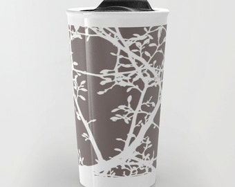 Magnolia Tree Branches Travel Mug - Coffee Mug - Brown and White Modern Tree Branches Ceramic Travel Mug With Lid - Aldari Home