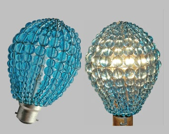 Crystal Chandelier Inspired Glass Lightbulb GLS Bulb Cover Sleeve Pendant Lamp Aqua Turquoise Lamp Shade Light Teal Drops Beads Moroccan