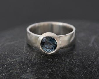 Blue Topaz Ring - London Blue Topaz Ring in Silver - Blue Topaz Solitaire Ring - Blue Topaz Statement Ring - Made to Order - Free Shipping