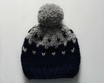 Ready to ship! Fair Isle baby hats sized 6-12 months