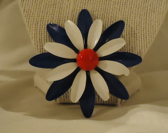 Red White Blue Flower Enamel Brooch Daisy Shaped Royal Cobalt Blue Painted Petals Vintage 1970's Costume Statement Jewelry Accessories Round