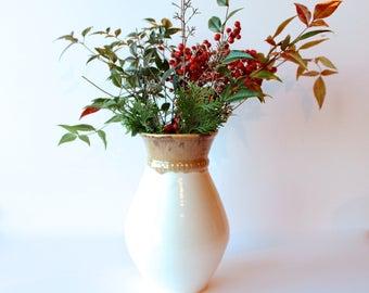Handmade Vase, READY TO SHIP, Stoneware Hand-thrown and Dipped Milk White and Creamy Honey Stoneware Vase