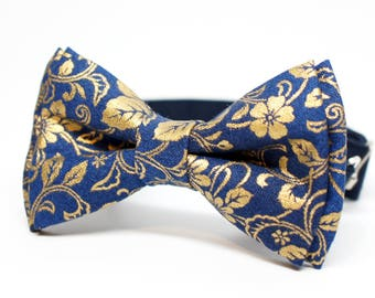 Special Bow Tie - Metallic Gold Pattern on Navy Bow Tie for all ages - pre tied bowtie, wedding, ring bearer, photo prop, holiday