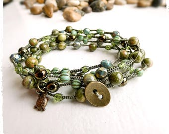 Macrame Multi-wrap Bracelet with Unakite Gemstones and Czech Glass Beads In Green and Bronze