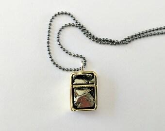 Handmade pyrite and brass rectangular statement necklace.