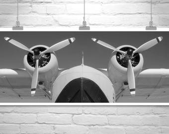 Airplane Art, Aviation Decor, Canvas Print, Sikorsky Airplane, Flying Boat, Baby Clipper, Propeller Airplane, Gallery Wrap, Pilot Gift