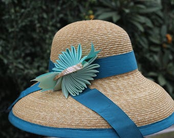 "Natural Straw Hat--Aqua Blue & Aqua Green Trim--""Bella"""