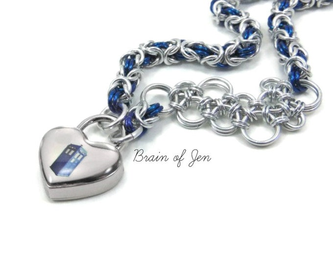Doctor Who Submissive Day Collar Asymmetric Slave Collar TARDIS Heart Lock and Gallifreyan Accent