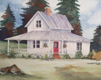 FREE SHIPPING!! Watercolor print, old white farm house with red door