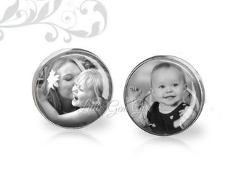 Custom Photo Earrings - Picture Stud Earrings - Post Personalized with Your Images - Mother's Day Gift - Surgical Stainless Steel Option