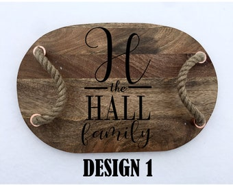 Personalized Serving Tray-Mango Wood Tray-Rope Handles-Serveware-Serving Trays-Personalized-Custom-Last Name-Family-Last Name Serving Tray