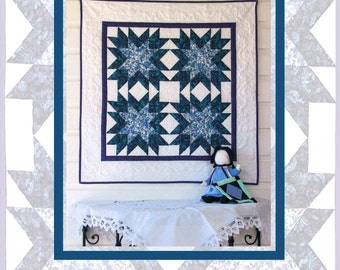 Free Quilt Pattern Thistle Star - Wall Hanging, Easy Quilt Project for Beginner, Simple Quilt Pattern - Patchwork Instant Download