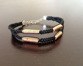 Wire and Cord bracelet with copper coils and chain and hook clasp