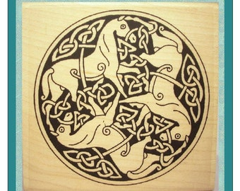 Celtic Knotwork Horses Rubber Stamp #300