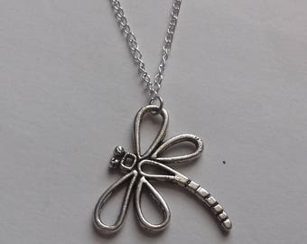 Dragonfly Necklace , Silver Necklace , Silver Dragonfly Necklace , Summer Jewelry , Handmade Jewellery , Gift