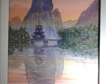 Original watercolor painting of a chinese landscape, 8x10, framed