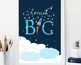 Space dream big nursery art print