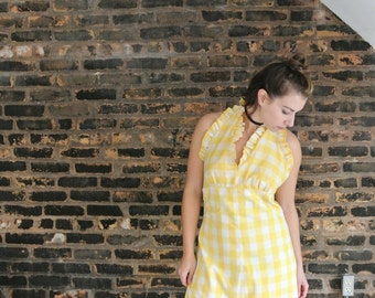 1960's Vintage || Hand Made || Yellow Gingham Checkered || Ruffled Halter Maxi Dress