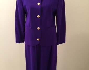 PURPLE Jos.A. Bank 100% WOOl Fully Lined SUIT Size 8 Free Neckline Large Metal Monogram-Look Buttons