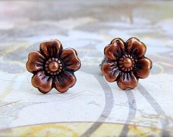 Antique Copper Cherry Blossom post earrings