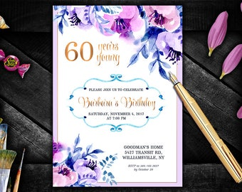 60th, 50th, 70th Birthday Invitation. Aniversary Party Invitation. Glam Birthday Invitation. Elegant Birthday Invitations.