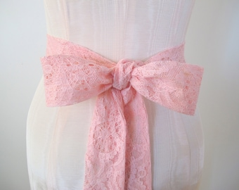 Pink Lace Sash Bow Belt Wedding Sash Bridesmaid Sashes - made to order - limited