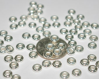 5mm Sterling Silver 925 RONDELLE SPACER BEAD Lots, 2mm thick - Genuine Silver - Free Shipping Worldwide