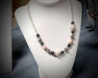 """18"""" silver tone multi-beaded gray pink necklace"""