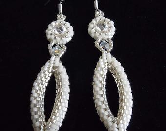 Beaded Bridal Earrings, Bridal Chandalier Earrings, Wedding Earrings, Beaded Earrings, Bridal Drop Earrings, Pageant Earrings