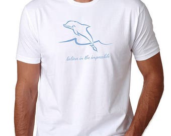 Dolphin t shirt /Men's t-shirt /Believe in the Impossible/Inspirational Shirt/Beach T Shirt /Graphic Tee /dolphin lover /Life is Balance