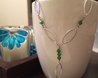 sterling silver and fern green marquise necklace