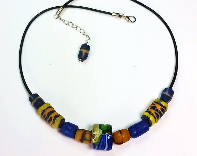 Trade Bead Necklace #3 on Leather Cord with Extender - Unisex Necklace - Necklace on Leather Cord