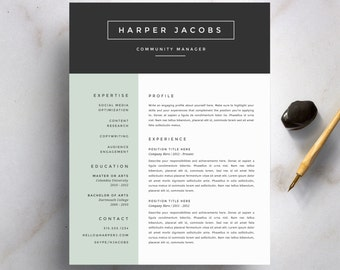 Modern Resume Template and Cover Letter Template for Word   DIY Printable 4 Pack   Professional and Creative Design