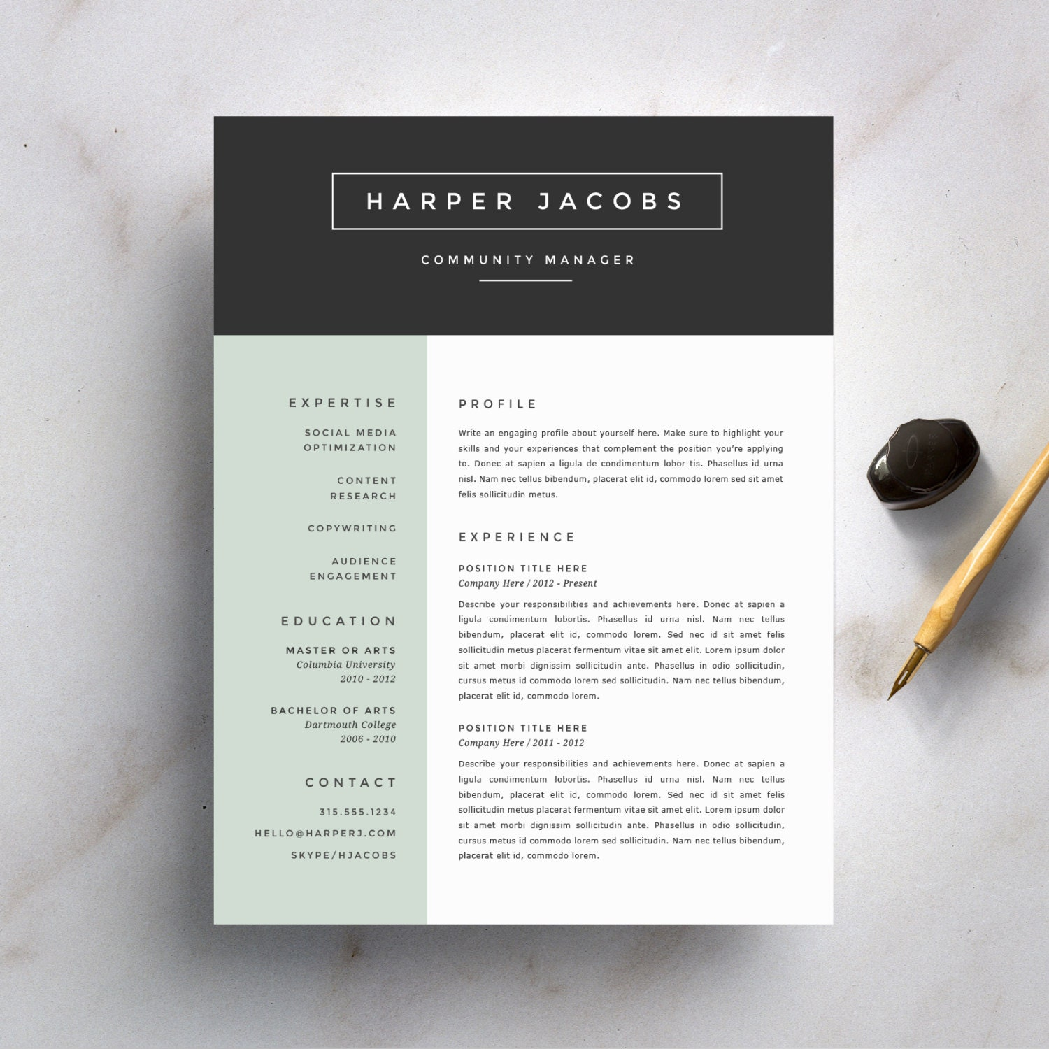 Recommended Resume Font Modern Resume Template And Cover Letter Template For Word
