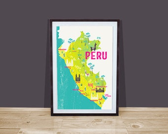 Map Of Peru / Illustrated Map / Travel Gift / Retro Map / Gift For Travelers / Backpacker / Peru Map Print / Peru Illustration / Llama