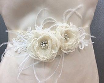 Bridal Sash Belt Ivory Chiffon Flower with Rhinestone