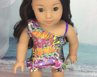 One shoulder swimsuit  made to fit American Girl and other 18 inch sized doll. Graffiti print doll clothes
