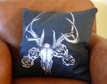 Stag skull and rose cushion, deer skull cotton cushion, gothic cushion