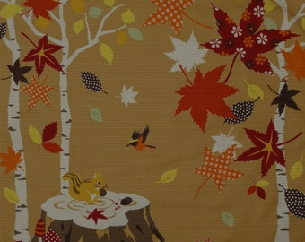 Squirrel Fabric Japanese Furoshiki 'Squirrel on a Tree Stump in Autumn' Cotton Square w/Free Shipping