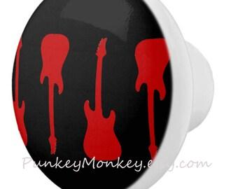 Electric guitar drawer pulls custom ceramic knob pull kids teens adult room decor guitar rock star black and red dresser knobs made to order