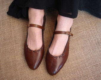 LEATHER HANDMADE SHOES / Leather Handmade / Ballerina / Shoes Handmade / Shoes Leather / Accessories  / Brown Leather Shoes.